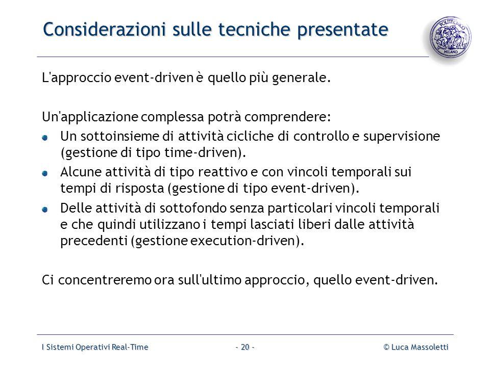 I Sistemi Operativi Real-Time© Luca Massoletti- 20 - Considerazioni sulle tecniche presentate L'approccio event-driven è quello più generale. Un'appli
