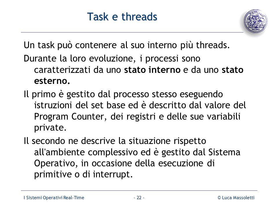 I Sistemi Operativi Real-Time© Luca Massoletti- 22 - Task e threads Un task può contenere al suo interno più threads. Durante la loro evoluzione, i pr