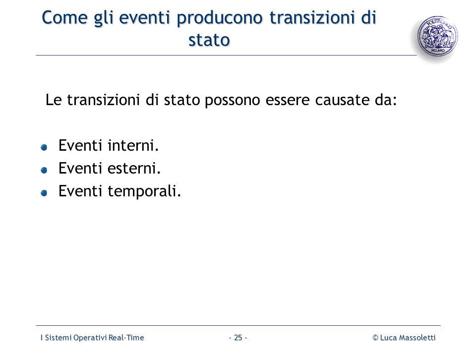 I Sistemi Operativi Real-Time© Luca Massoletti- 25 - Come gli eventi producono transizioni di stato Le transizioni di stato possono essere causate da:
