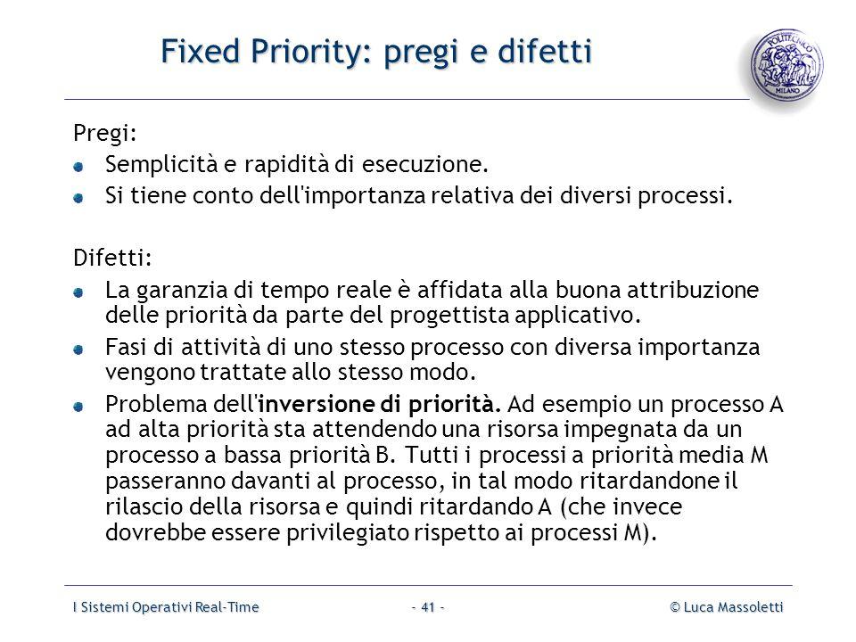 I Sistemi Operativi Real-Time© Luca Massoletti- 41 - Fixed Priority: pregi e difetti Pregi: Semplicità e rapidità di esecuzione. Si tiene conto dell'i