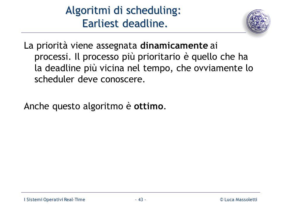 I Sistemi Operativi Real-Time© Luca Massoletti- 43 - Algoritmi di scheduling: Earliest deadline. La priorità viene assegnata dinamicamente ai processi
