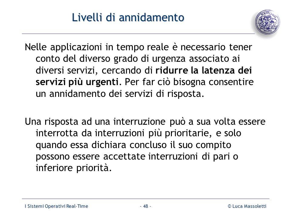 I Sistemi Operativi Real-Time© Luca Massoletti- 48 - Livelli di annidamento Nelle applicazioni in tempo reale è necessario tener conto del diverso gra