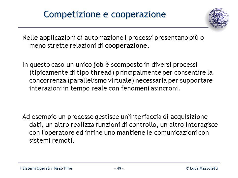 I Sistemi Operativi Real-Time© Luca Massoletti- 49 - Competizione e cooperazione Nelle applicazioni di automazione i processi presentano più o meno st