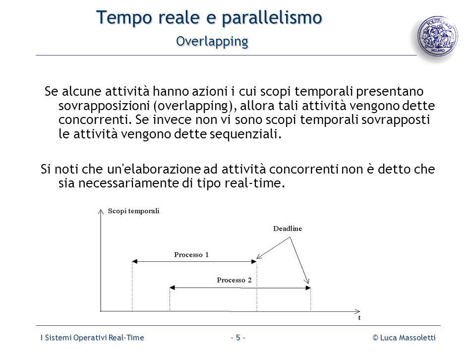 I Sistemi Operativi Real-Time© Luca Massoletti- 5 - Tempo reale e parallelismo Overlapping Se alcune attività hanno azioni i cui scopi temporali prese