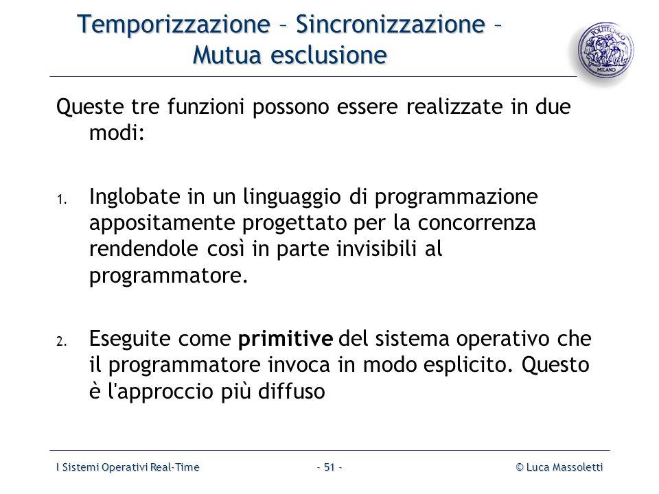 I Sistemi Operativi Real-Time© Luca Massoletti- 51 - Temporizzazione – Sincronizzazione – Mutua esclusione Queste tre funzioni possono essere realizza
