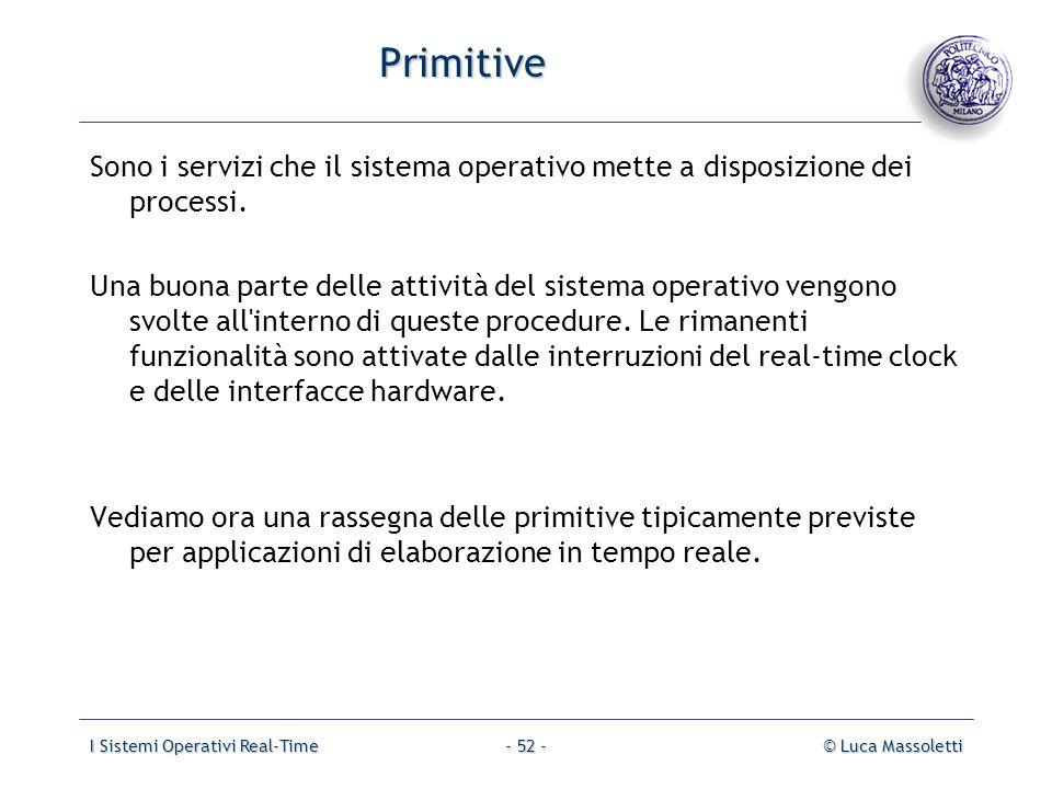 I Sistemi Operativi Real-Time© Luca Massoletti- 52 - Primitive Sono i servizi che il sistema operativo mette a disposizione dei processi. Una buona pa