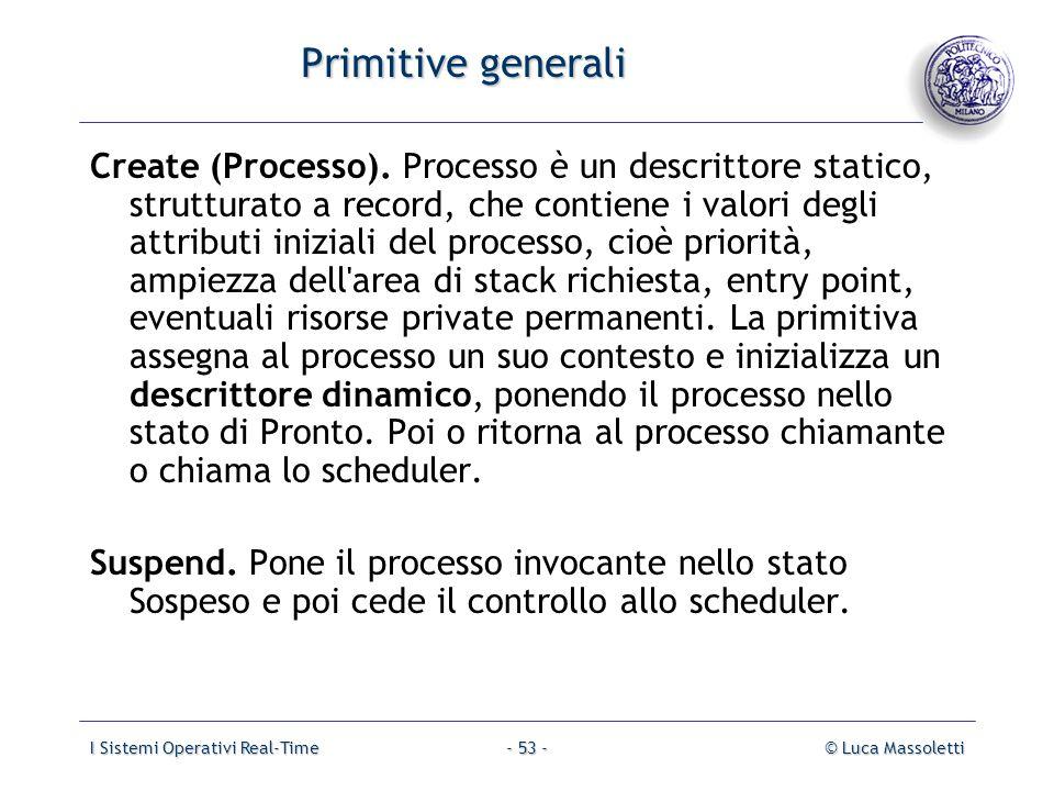 I Sistemi Operativi Real-Time© Luca Massoletti- 53 - Primitive generali Create (Processo). Processo è un descrittore statico, strutturato a record, ch