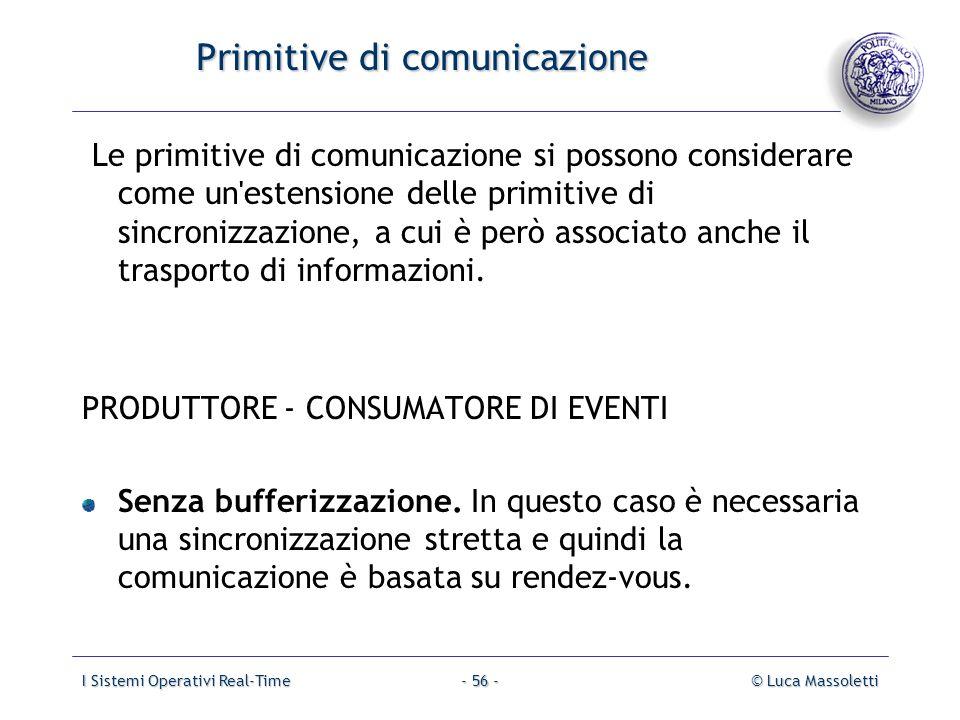 I Sistemi Operativi Real-Time© Luca Massoletti- 56 - Primitive di comunicazione Le primitive di comunicazione si possono considerare come un'estension