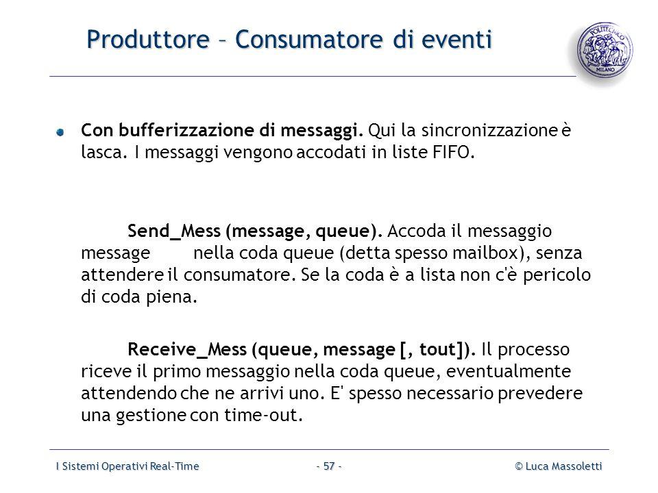 I Sistemi Operativi Real-Time© Luca Massoletti- 57 - Produttore – Consumatore di eventi Con bufferizzazione di messaggi. Qui la sincronizzazione è las