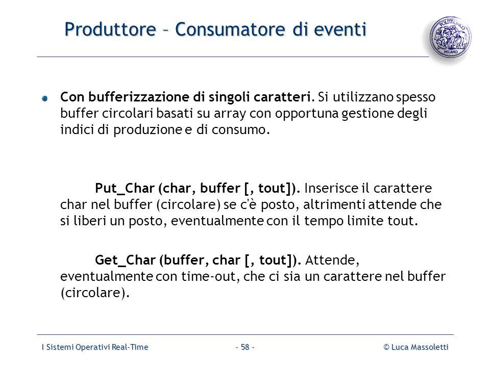 I Sistemi Operativi Real-Time© Luca Massoletti- 58 - Produttore – Consumatore di eventi Con bufferizzazione di singoli caratteri. Si utilizzano spesso