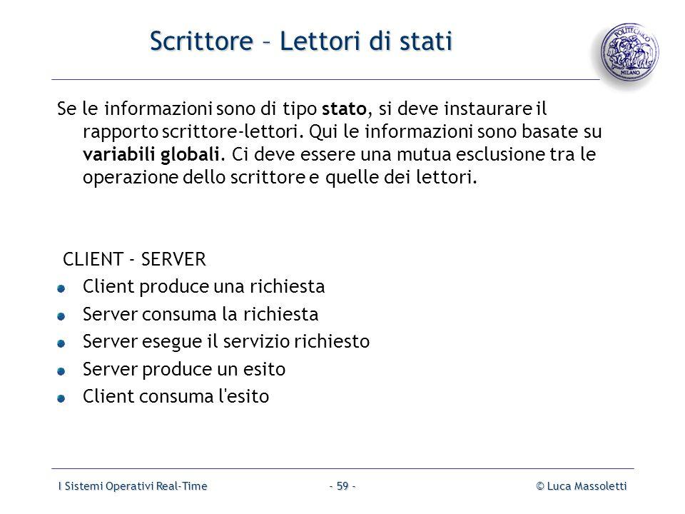 I Sistemi Operativi Real-Time© Luca Massoletti- 59 - Scrittore – Lettori di stati Se le informazioni sono di tipo stato, si deve instaurare il rapport