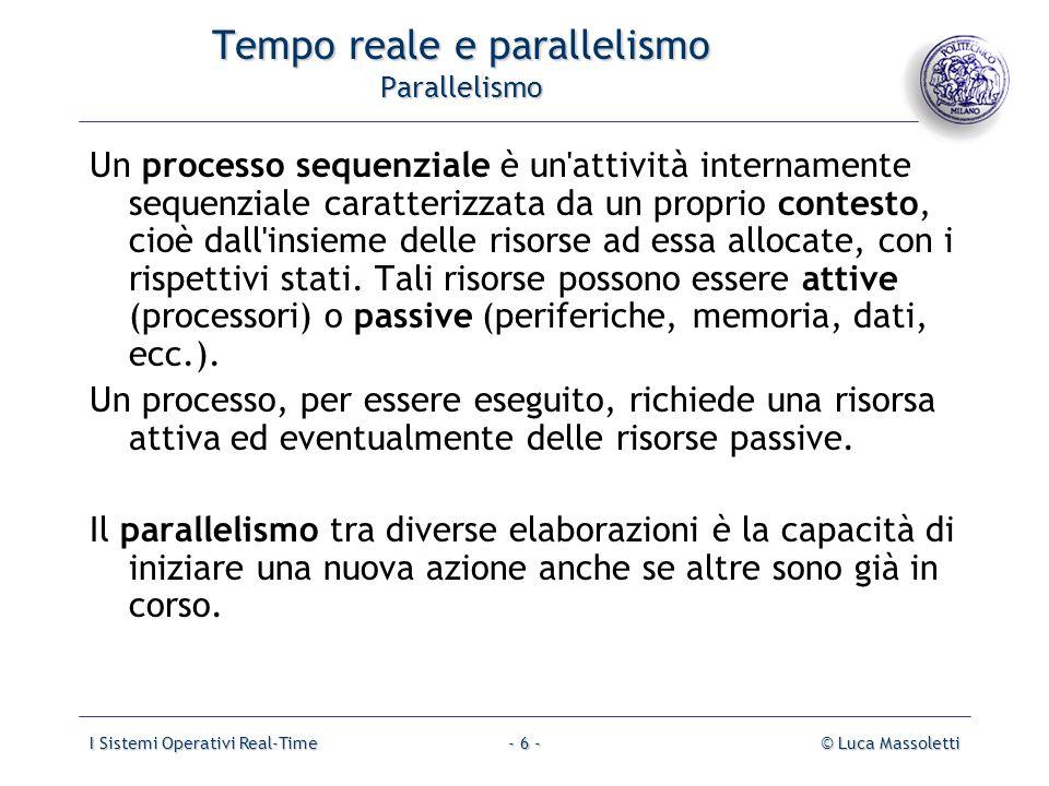 I Sistemi Operativi Real-Time© Luca Massoletti- 6 - Tempo reale e parallelismo Parallelismo Un processo sequenziale è un'attività internamente sequenz