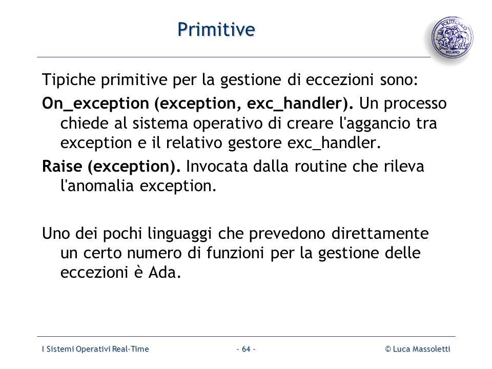 I Sistemi Operativi Real-Time© Luca Massoletti- 64 - Primitive Tipiche primitive per la gestione di eccezioni sono: On_exception (exception, exc_handl