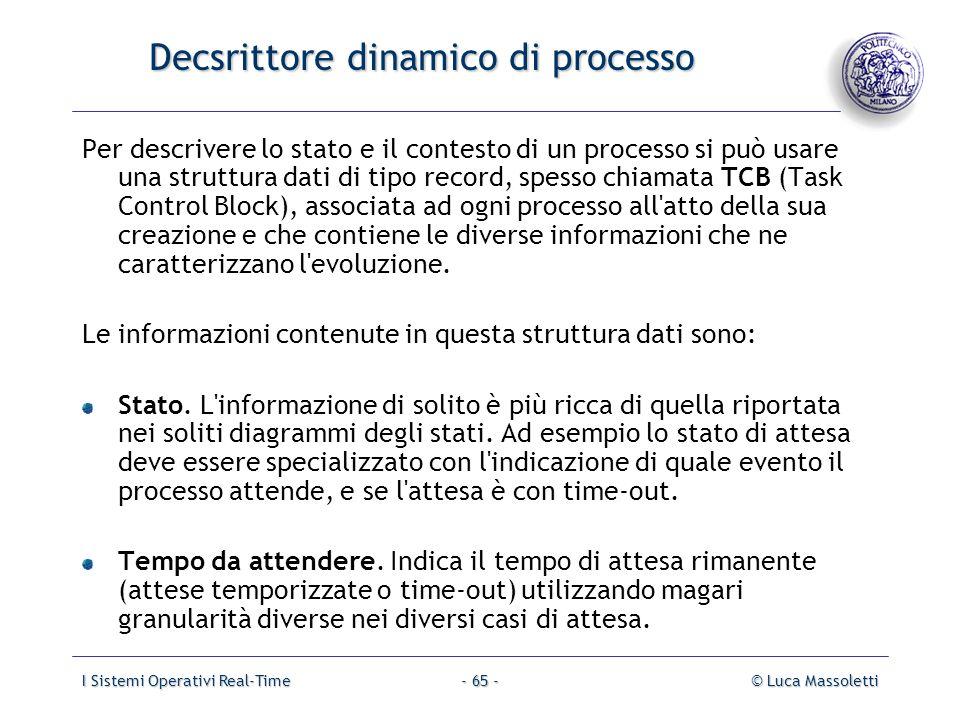 I Sistemi Operativi Real-Time© Luca Massoletti- 65 - Decsrittore dinamico di processo Per descrivere lo stato e il contesto di un processo si può usar
