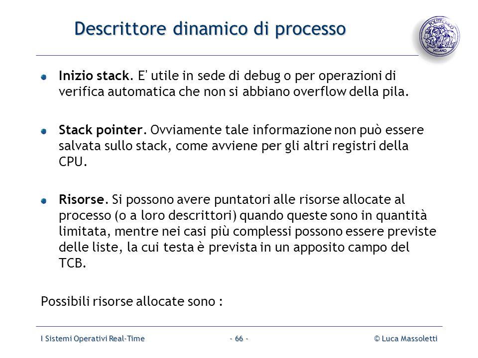 I Sistemi Operativi Real-Time© Luca Massoletti- 66 - Descrittore dinamico di processo Inizio stack. E' utile in sede di debug o per operazioni di veri