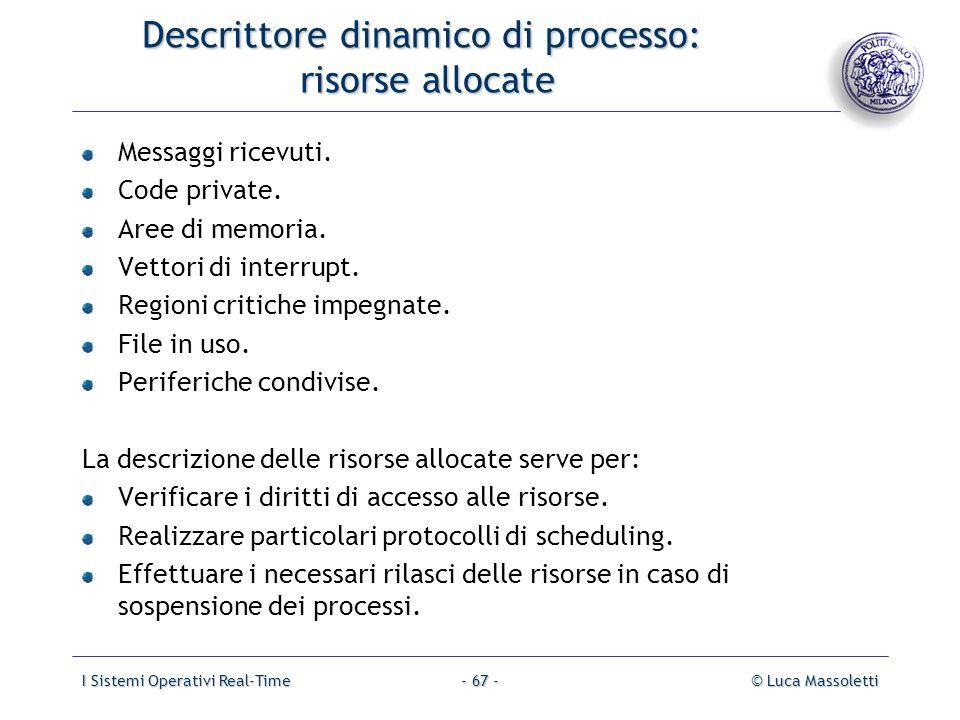 I Sistemi Operativi Real-Time© Luca Massoletti- 67 - Descrittore dinamico di processo: risorse allocate Messaggi ricevuti. Code private. Aree di memor