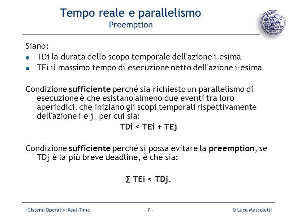 I Sistemi Operativi Real-Time© Luca Massoletti- 8 - Tempo reale e parallelismo Parallelismo fisico Un parallelismo fisico è ottenibile se sono disponibili tanti processori (multiprocessing), quante sono le attività potenzialmente concomitanti.