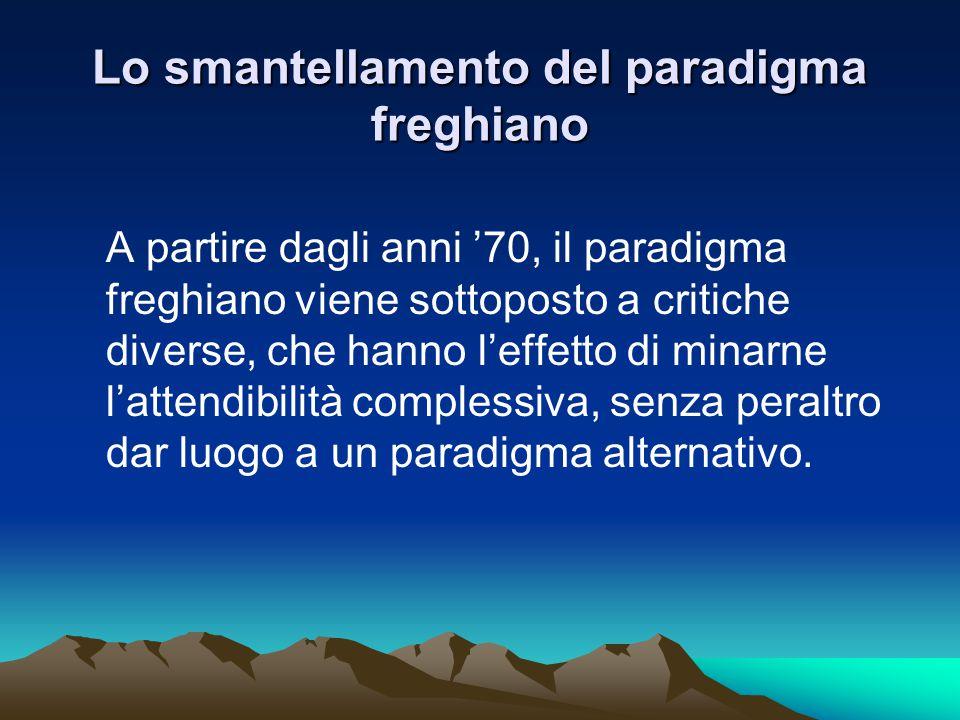 Lo smantellamento del paradigma freghiano A partire dagli anni '70, il paradigma freghiano viene sottoposto a critiche diverse, che hanno l'effetto di