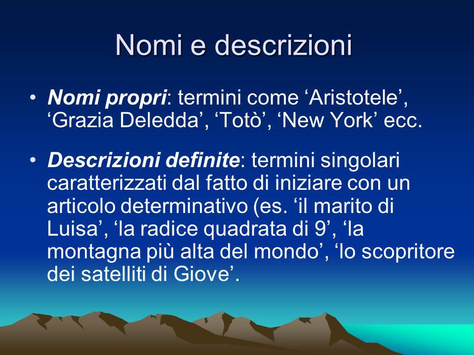 Nomi e descrizioni Nomi propri: termini come 'Aristotele', 'Grazia Deledda', 'Totò', 'New York' ecc. Descrizioni definite: termini singolari caratteri
