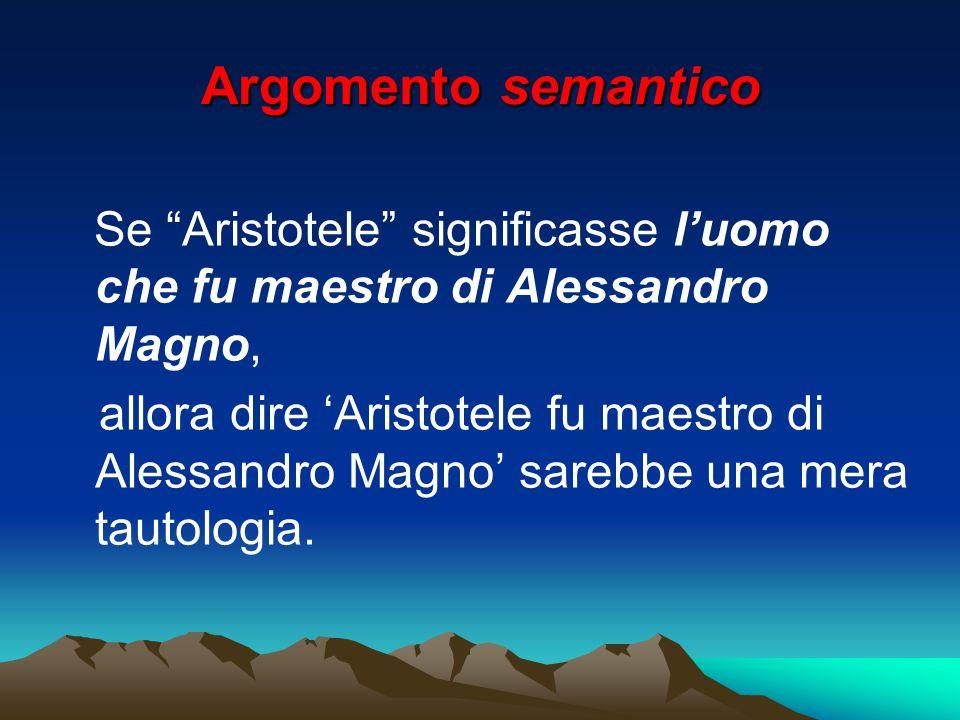 """Argomento semantico Se """"Aristotele"""" significasse l'uomo che fu maestro di Alessandro Magno, allora dire 'Aristotele fu maestro di Alessandro Magno' sa"""