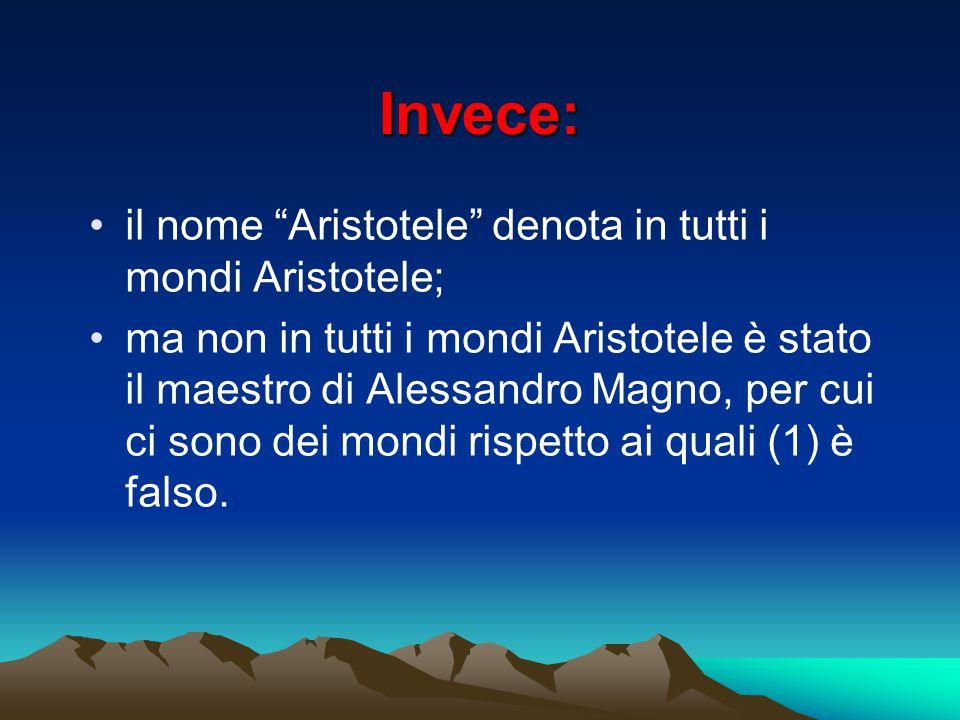 """Invece: il nome """"Aristotele"""" denota in tutti i mondi Aristotele; ma non in tutti i mondi Aristotele è stato il maestro di Alessandro Magno, per cui ci"""