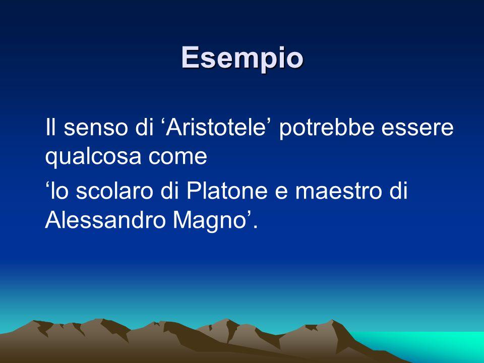 Esempio Il senso di 'Aristotele' potrebbe essere qualcosa come 'lo scolaro di Platone e maestro di Alessandro Magno'.
