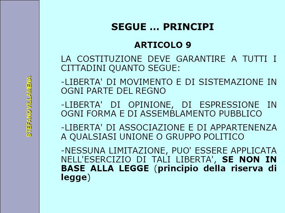 Università degli Studi di Perugia STEFANO VILLAMENA SEGUE … PRINCIPI ARTICOLO 9 LA COSTITUZIONE DEVE GARANTIRE A TUTTI I CITTADINI QUANTO SEGUE: -LIBE