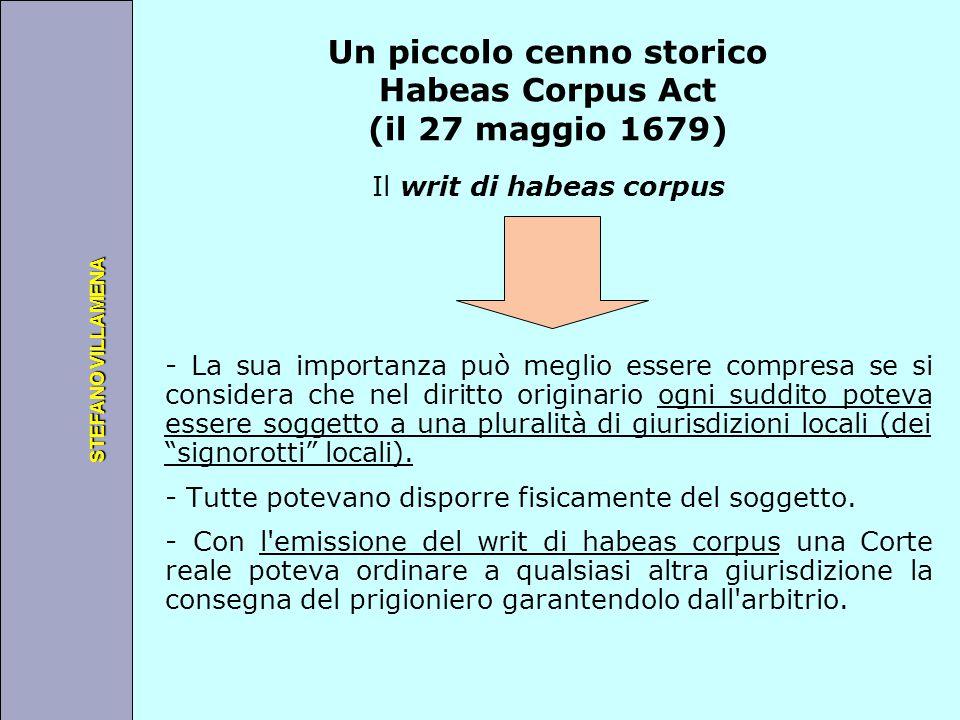 Università degli Studi di Perugia STEFANO VILLAMENA Un piccolo cenno storico Habeas Corpus Act (il 27 maggio 1679) Il writ di habeas corpus - La sua i
