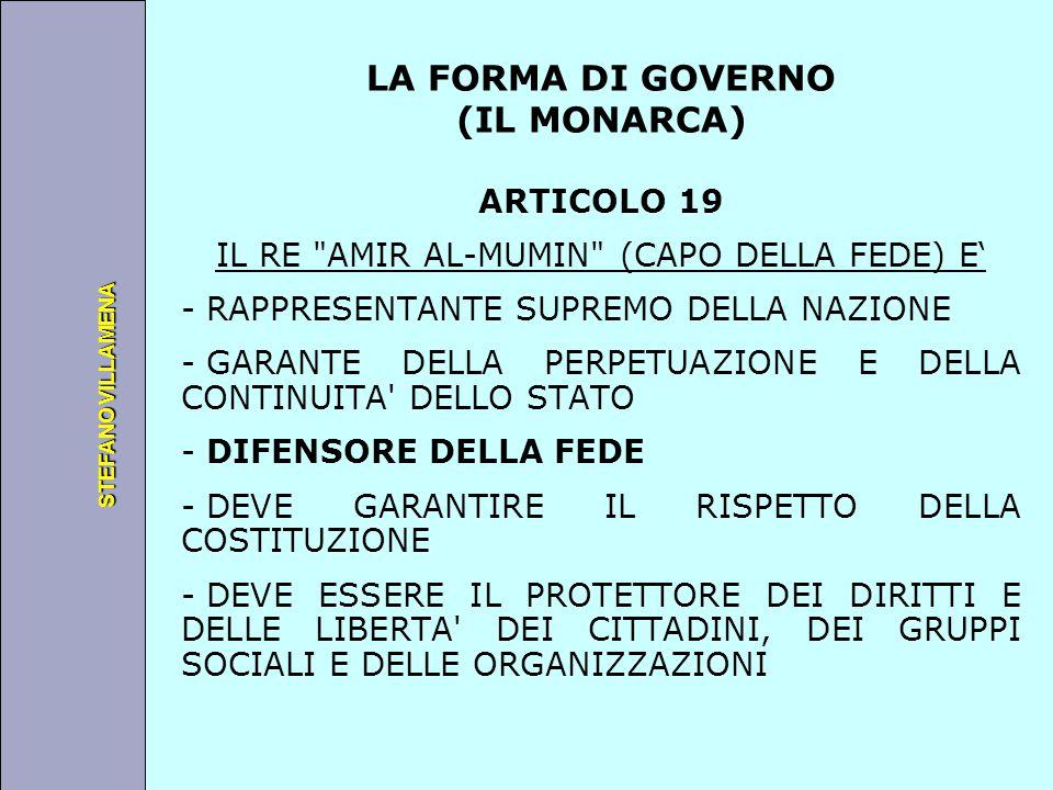Università degli Studi di Perugia STEFANO VILLAMENA LA FORMA DI GOVERNO (IL MONARCA) ARTICOLO 19 IL RE