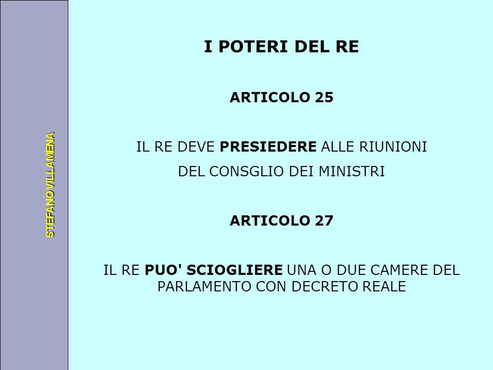 Università degli Studi di Perugia STEFANO VILLAMENA I POTERI DEL RE ARTICOLO 25 IL RE DEVE PRESIEDERE ALLE RIUNIONI DEL CONSGLIO DEI MINISTRI ARTICOLO