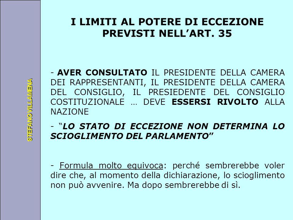 Università degli Studi di Perugia STEFANO VILLAMENA I LIMITI AL POTERE DI ECCEZIONE PREVISTI NELL'ART. 35 - AVER CONSULTATO IL PRESIDENTE DELLA CAMERA