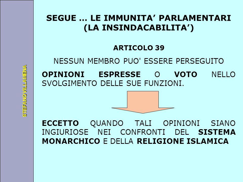 Università degli Studi di Perugia STEFANO VILLAMENA SEGUE … LE IMMUNITA' PARLAMENTARI (LA INSINDACABILITA') ARTICOLO 39 NESSUN MEMBRO PUO' ESSERE PERS
