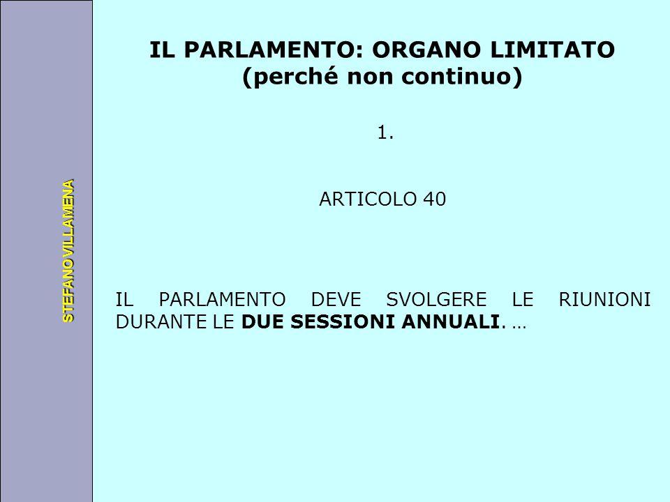 Università degli Studi di Perugia STEFANO VILLAMENA IL PARLAMENTO: ORGANO LIMITATO (perché non continuo) 1. ARTICOLO 40 IL PARLAMENTO DEVE SVOLGERE LE
