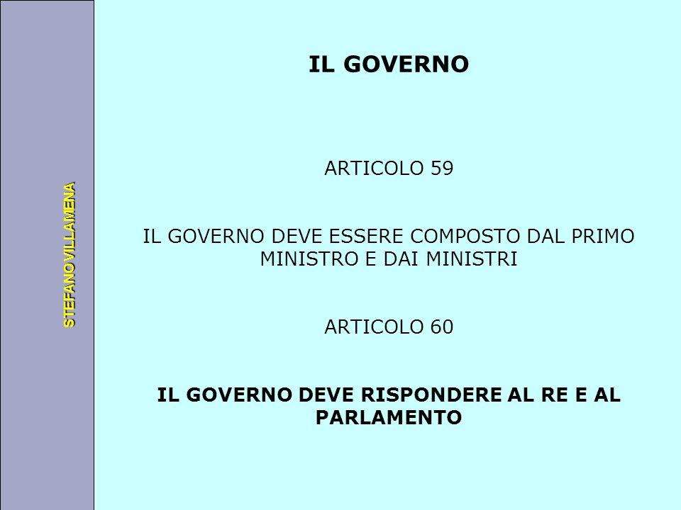 Università degli Studi di Perugia STEFANO VILLAMENA IL GOVERNO ARTICOLO 59 IL GOVERNO DEVE ESSERE COMPOSTO DAL PRIMO MINISTRO E DAI MINISTRI ARTICOLO