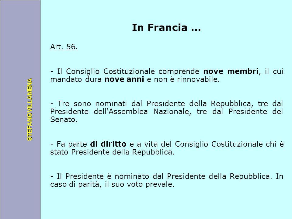 Università degli Studi di Perugia STEFANO VILLAMENA In Francia … Art. 56. - Il Consiglio Costituzionale comprende nove membri, il cui mandato dura nov