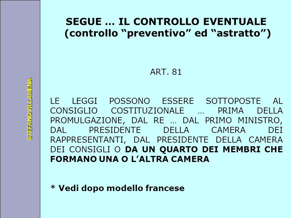"""Università degli Studi di Perugia STEFANO VILLAMENA SEGUE … IL CONTROLLO EVENTUALE (controllo """"preventivo"""" ed """"astratto"""") ART. 81 LE LEGGI POSSONO ESS"""