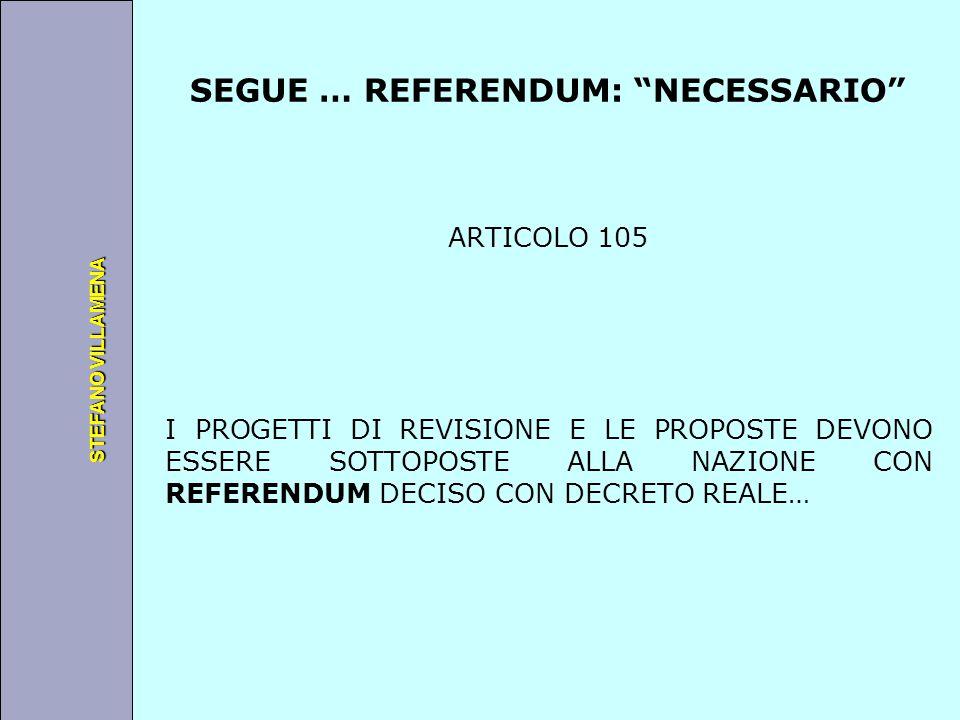 """Università degli Studi di Perugia STEFANO VILLAMENA SEGUE … REFERENDUM: """"NECESSARIO"""" ARTICOLO 105 I PROGETTI DI REVISIONE E LE PROPOSTE DEVONO ESSERE"""