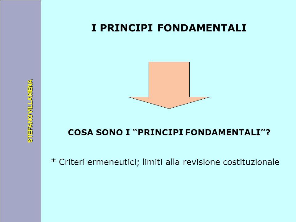 """Università degli Studi di Perugia STEFANO VILLAMENA I PRINCIPI FONDAMENTALI COSA SONO I """"PRINCIPI FONDAMENTALI""""? * Criteri ermeneutici; limiti alla re"""