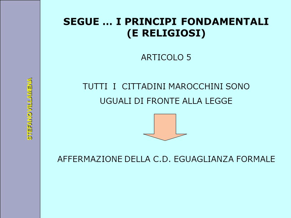 Università degli Studi di Perugia STEFANO VILLAMENA SEGUE … I PRINCIPI FONDAMENTALI (E RELIGIOSI) ARTICOLO 5 TUTTI I CITTADINI MAROCCHINI SONO UGUALI