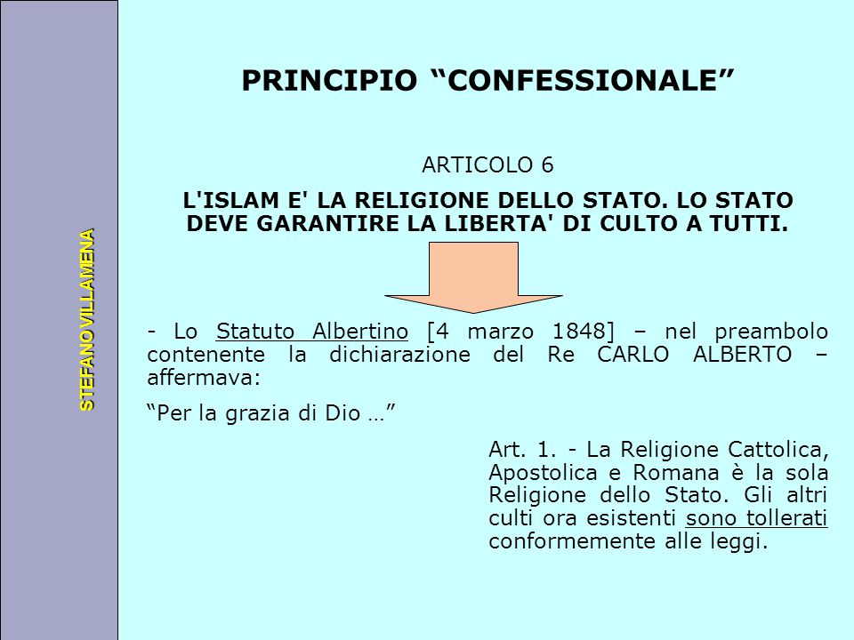 """Università degli Studi di Perugia STEFANO VILLAMENA PRINCIPIO """"CONFESSIONALE"""" ARTICOLO 6 L'ISLAM E' LA RELIGIONE DELLO STATO. LO STATO DEVE GARANTIRE"""