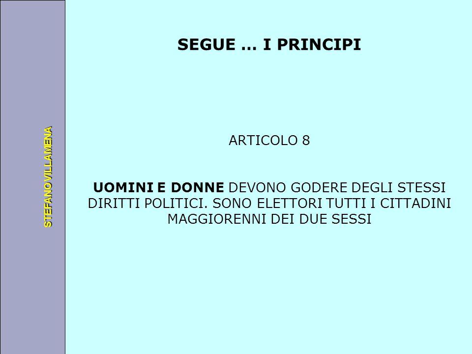 Università degli Studi di Perugia STEFANO VILLAMENA SEGUE … PRINCIPI ARTICOLO 9 LA COSTITUZIONE DEVE GARANTIRE A TUTTI I CITTADINI QUANTO SEGUE: -LIBERTA DI MOVIMENTO E DI SISTEMAZIONE IN OGNI PARTE DEL REGNO -LIBERTA DI OPINIONE, DI ESPRESSIONE IN OGNI FORMA E DI ASSEMBLAMENTO PUBBLICO -LIBERTA DI ASSOCIAZIONE E DI APPARTENENZA A QUALSIASI UNIONE O GRUPPO POLITICO -NESSUNA LIMITAZIONE, PUO ESSERE APPLICATA NELL ESERCIZIO DI TALI LIBERTA , SE NON IN BASE ALLA LEGGE (principio della riserva di legge)