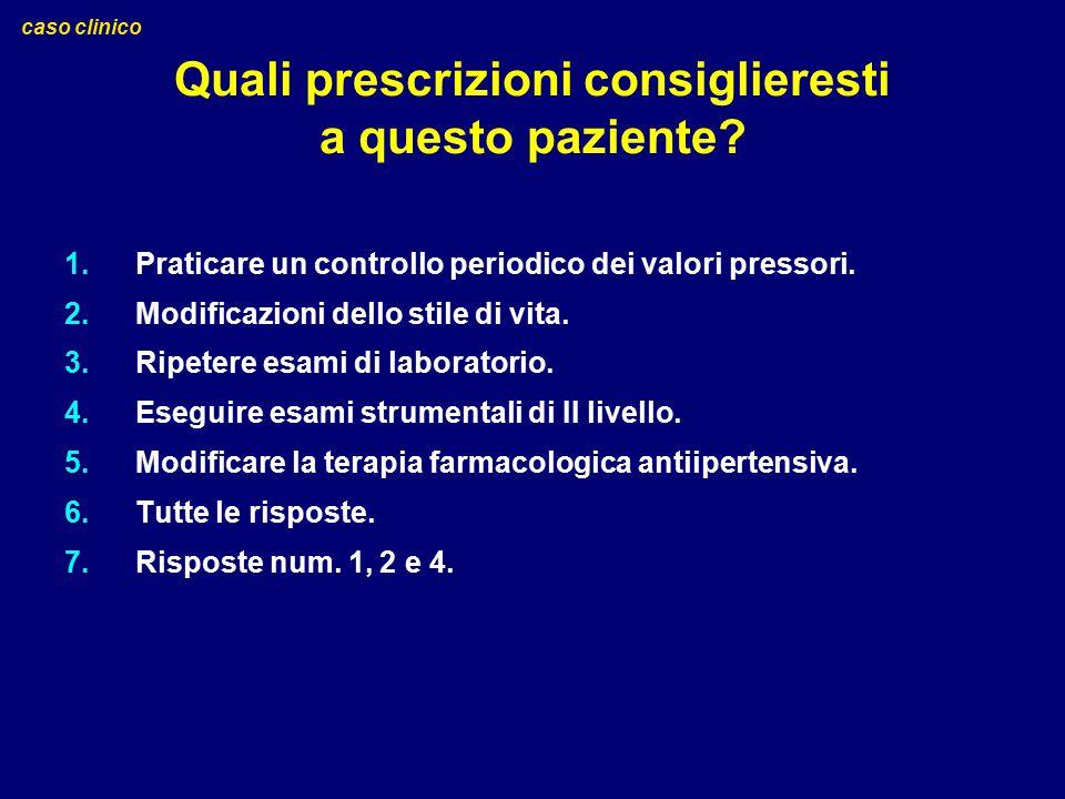 Quali prescrizioni consiglieresti a questo paziente? 1.Praticare un controllo periodico dei valori pressori. 2.Modificazioni dello stile di vita. 3.Ri