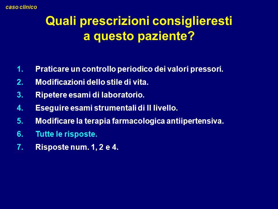 Quali prescrizioni consiglieresti a questo paziente? caso clinico 1.Praticare un controllo periodico dei valori pressori. 2.Modificazioni dello stile