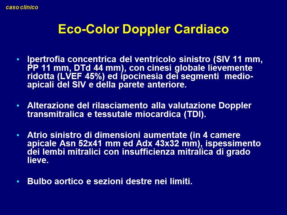 Eco-Color Doppler Cardiaco Ipertrofia concentrica del ventricolo sinistro (SIV 11 mm, PP 11 mm, DTd 44 mm), con cinesi globale lievemente ridotta (LVE