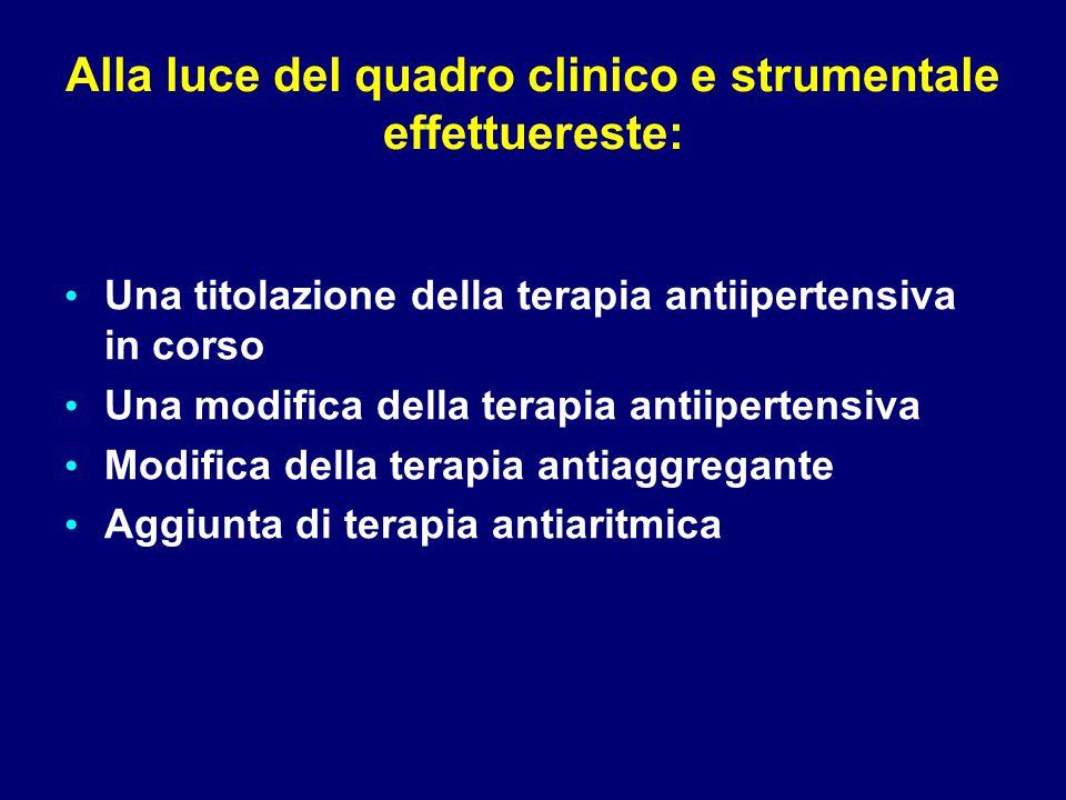 Alla luce del quadro clinico e strumentale effettuereste: Una titolazione della terapia antiipertensiva in corso Una modifica della terapia antiiperte
