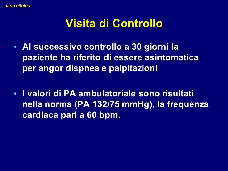 Visita di Controllo Al successivo controllo a 30 giorni la paziente ha riferito di essere asintomatica per angor dispnea e palpitazioni I valori di PA