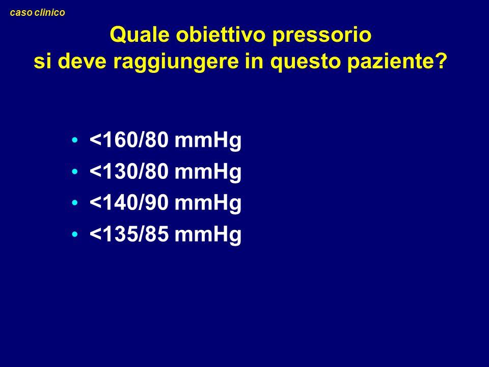 Quale obiettivo pressorio si deve raggiungere in questo paziente? <160/80 mmHg <130/80 mmHg <140/90 mmHg <135/85 mmHg caso clinico