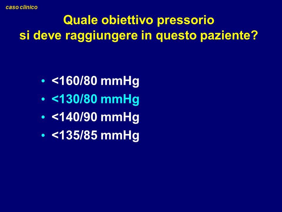Quale obiettivo pressorio si deve raggiungere in questo paziente? caso clinico <160/80 mmHg <130/80 mmHg <140/90 mmHg <135/85 mmHg