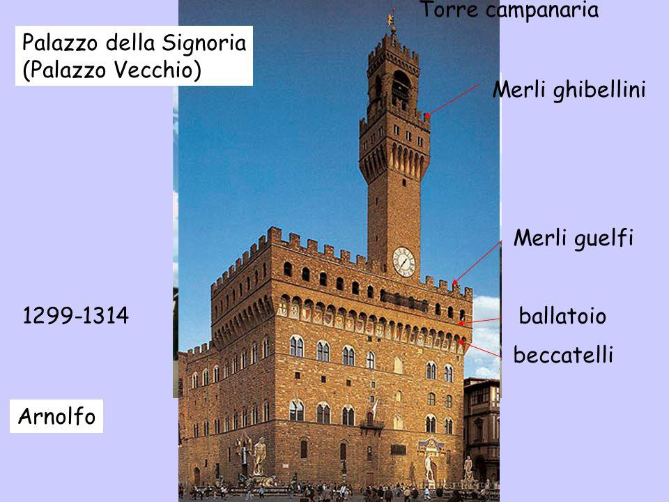 Palazzo della Signoria (Palazzo Vecchio) 1299-1314 Arnolfo ballatoio beccatelli Merli guelfi Merli ghibellini Torre campanaria