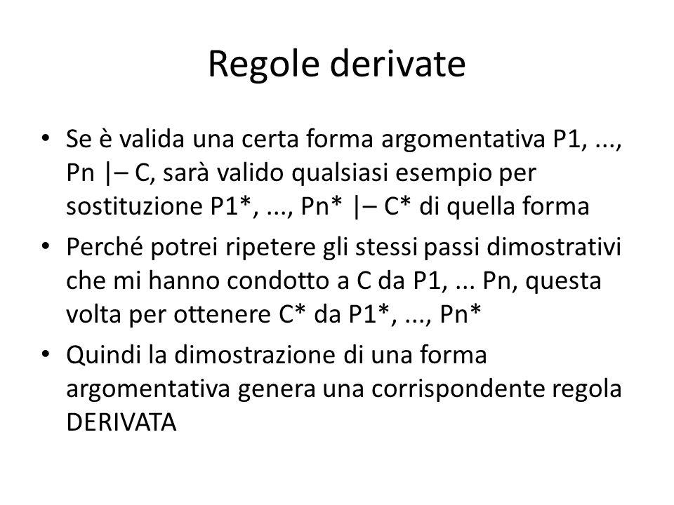 Regole derivate Se è valida una certa forma argomentativa P1,..., Pn |– C, sarà valido qualsiasi esempio per sostituzione P1*,..., Pn* |– C* di quella forma Perché potrei ripetere gli stessi passi dimostrativi che mi hanno condotto a C da P1,...